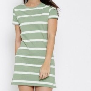 Green/Off white Striped dress from Forever 21